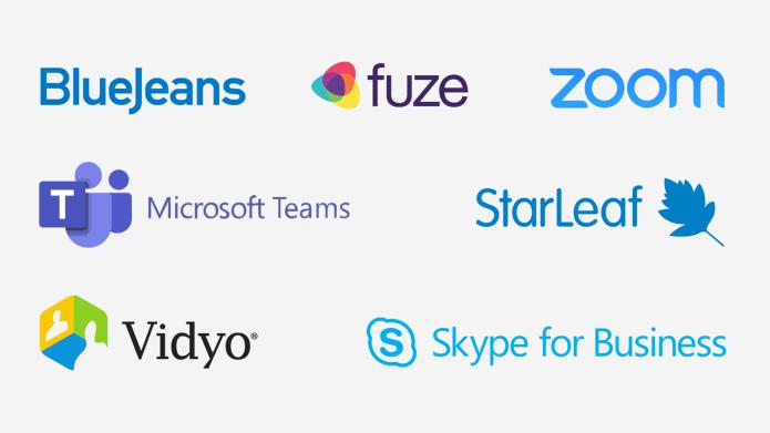 Logo's van videovergaderingsbedrijven