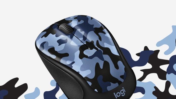 mouse para computadora con estampado azul