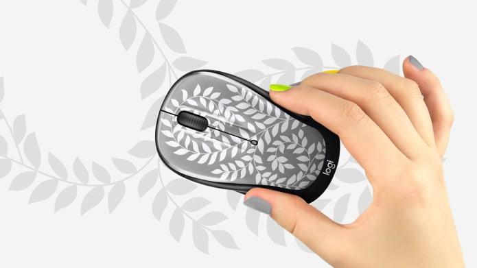 mouse para computadora gris estampado