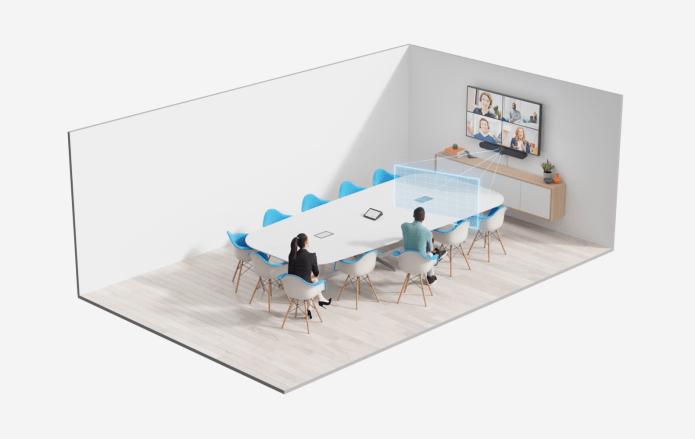 Simulated video conference room outlining the room coverage field of vision based on seating space.