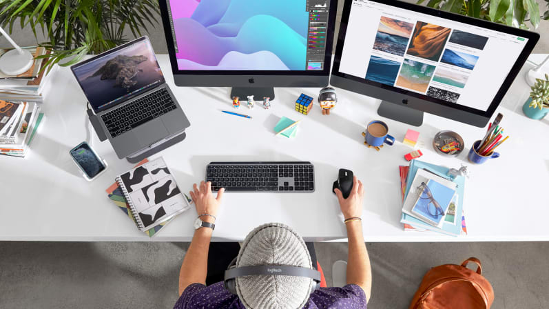 man working on desktop