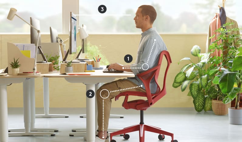 3 areas to optimize for better posture when sitting in a workspace