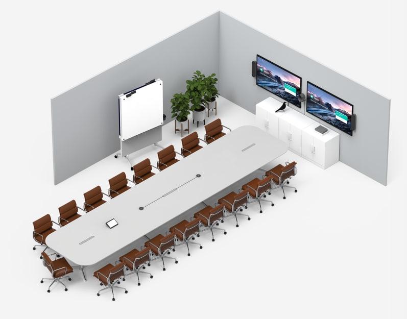 配備具有雙電視顯示器之大型會議室解決方案的會議室範例