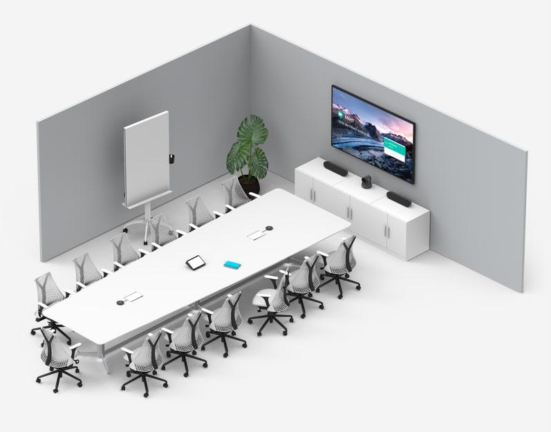 配備 Tap 舉升安裝套件的大型會議室