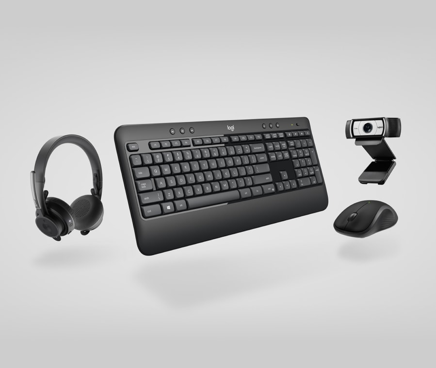 Productivity collection - keyboard, mouse, headset, webcam combo